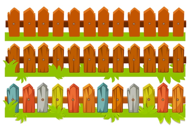 Illustrazione di una serie di recinzioni in legno. recinzione marrone e colorata con erba. Vettore Premium