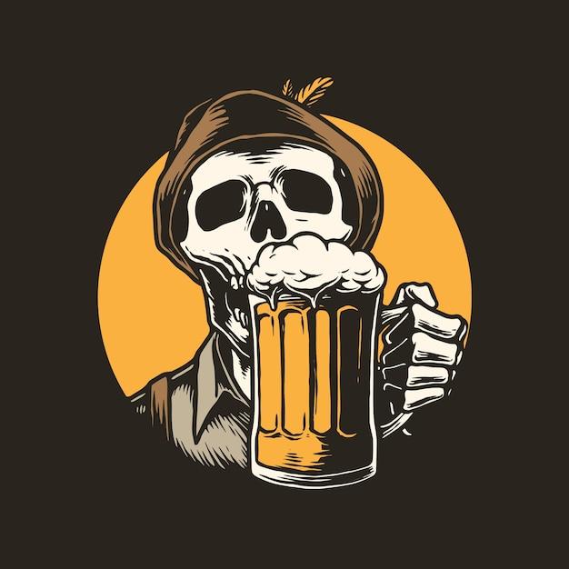 Illustrazione di scheletro che beve birra Vettore Premium
