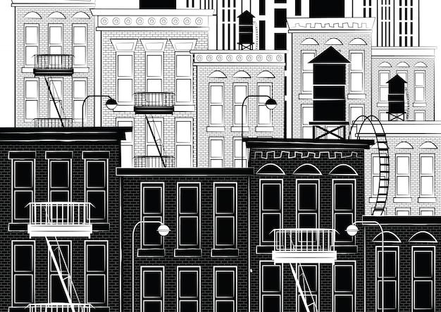 Illustrazione di uno schizzo di new york Vettore Premium