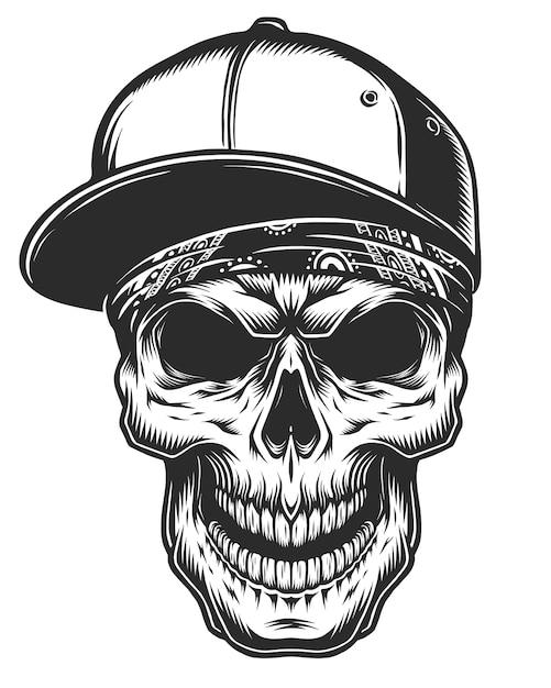 Illustrazione del cranio in bandana e berretto da baseball Vettore Premium