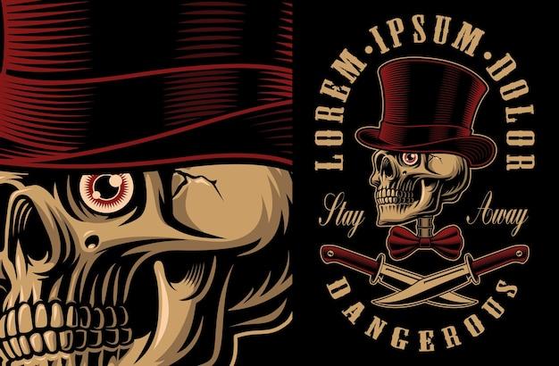 Illustrazione di un teschio in cappello con coltelli incrociati. design della maglietta. tutti gli elementi, i colori e il testo si trovano nei gruppi separati. Vettore Premium