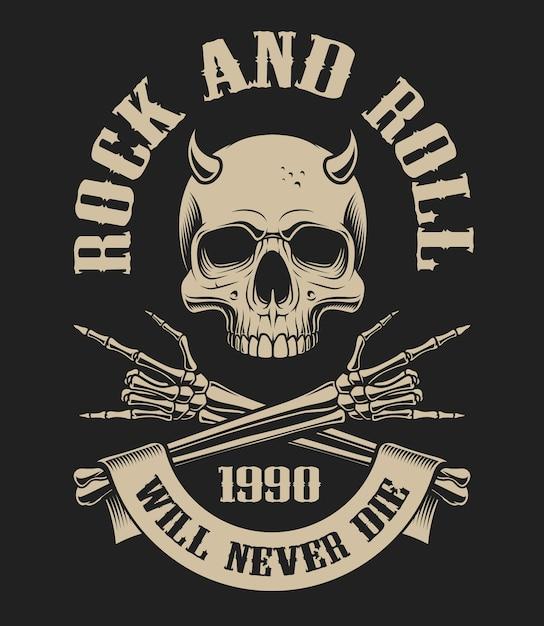 Illustrazione di un teschio con le corna e le braccia incrociate sul tema del rockenroll su uno sfondo scuro. ideale per t-shirt e tante altre Vettore Premium