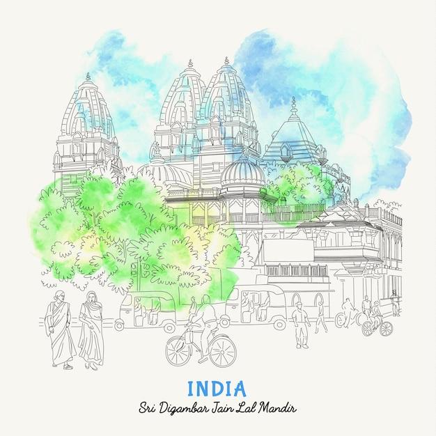 Illustrazione della strada a delhi, in india. india vista sulla strada nella città vecchia. Vettore Premium