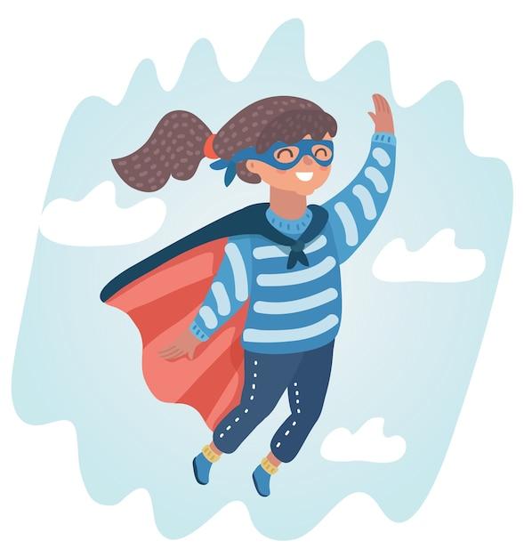 Illustrazione della dolce bambina in un costume da super eroe volare nel cielo. Vettore Premium