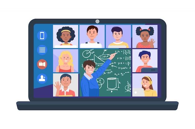 Illustrazione di insegnanti e studenti in videoconferenza sul computer portatile. Vettore Premium