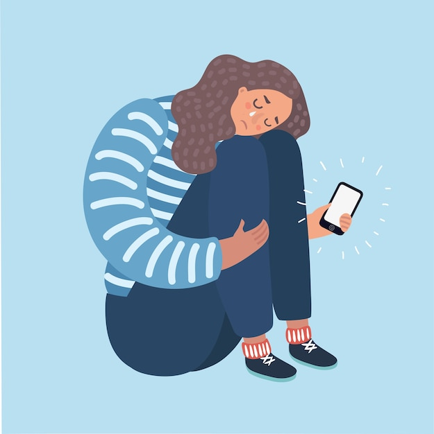 Illustrazione di una ragazza adolescente che piange per quello che ha visto sul suo telefono Vettore Premium