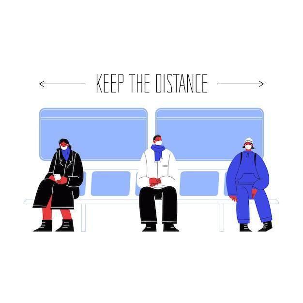 Illustrazione di tre personaggi seduti sui mezzi pubblici che coprono i volti con maschere che stanno lontani gli uni dagli altri. Vettore Premium