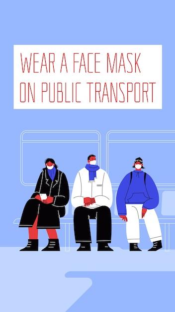 Illustrazione di tre personaggi che indossano maschere posti a sedere sui mezzi pubblici. Vettore Premium