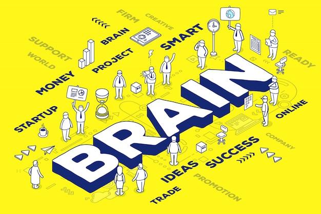 Illustrazione del cervello tridimensionale parola d'affari con persone e tag su sfondo giallo con schema. Vettore Premium
