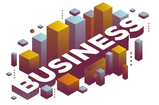 Illustrazione del business parola tridimensionale con forme astratte di colore Vettore Premium