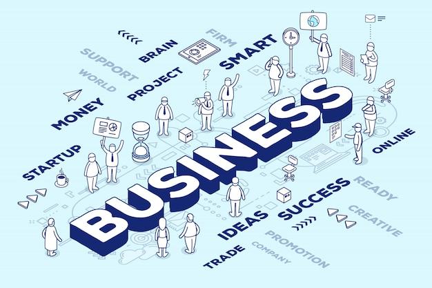 Illustrazione di affari di parola tridimensionale con persone e tag su sfondo blu con schema. Vettore Premium