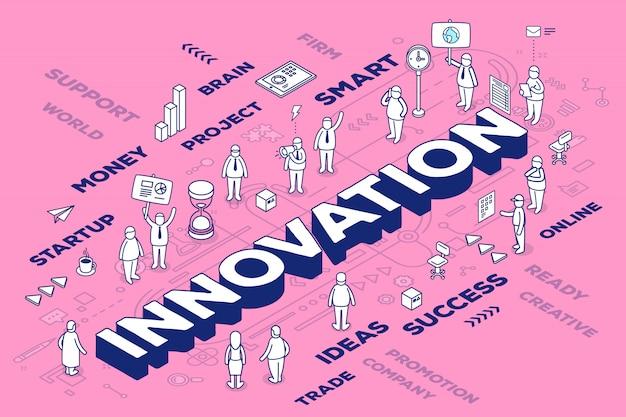 Illustrazione di innovazione parola tridimensionale con persone e tag su sfondo rosa con schema. Vettore Premium