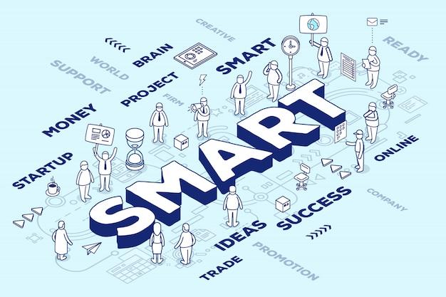 Illustrazione della parola tridimensionale intelligente con persone e tag su sfondo blu con schema. concetto di tecnologia intelligente. Vettore Premium