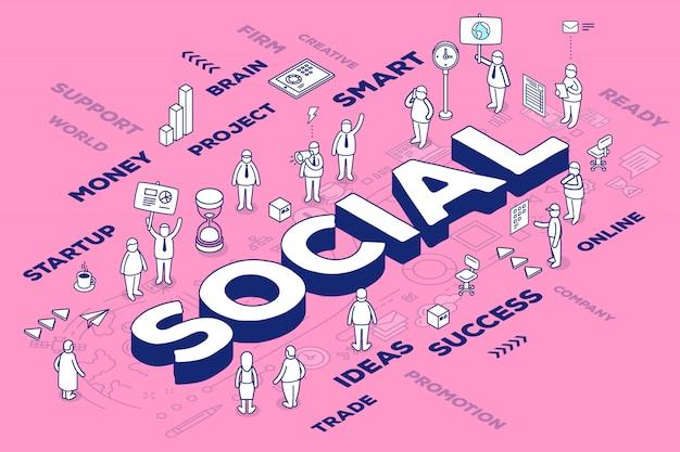 Illustrazione della parola tridimensionale sociale con persone e tag su sfondo rosa con schema. Vettore Premium