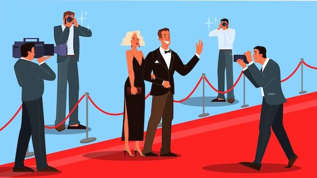 Illustrazione di due celebrità sul tappeto rosso, salutando fotografo e paparazzi. famos e bellissimi attori e attrici si recano alla cerimonia. Vettore Premium