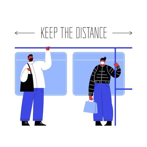 Illustrazione di due personaggi che si aggirano sui mezzi pubblici aggrappati al corrimano coprendo i volti con maschere che stanno lontani l'uno dall'altro. Vettore Premium