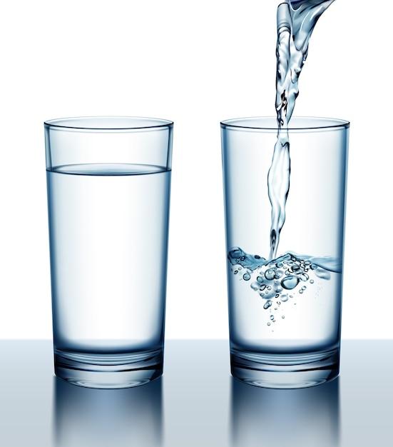 Illustrazione di due bicchieri di acqua fresca piena e versando Vettore Premium