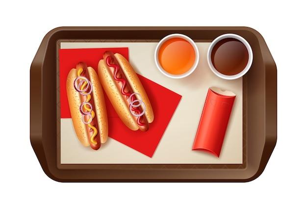 Illustrazione di due hot dog con bevande e pasta arrosto nel riquadro rosso Vettore Premium