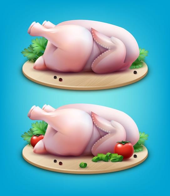 Illustrazione di due polli interi crudi con pepe in grani, verdure e pomodori sul tagliere di legno su sfondo blu Vettore Premium