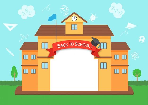Vettore dell'illustrazione di progettazione della struttura di nuovo a scuola con il fondo del profilo di conoscenza Vettore Premium