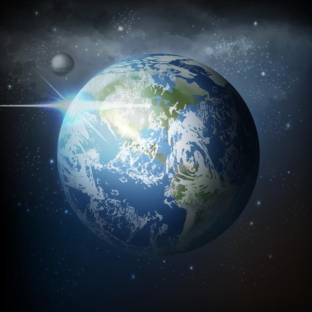 Illustrazione vista dallo spazio del pianeta terra realistico con la luna nell'universo con la via lattea sullo sfondo Vettore Premium