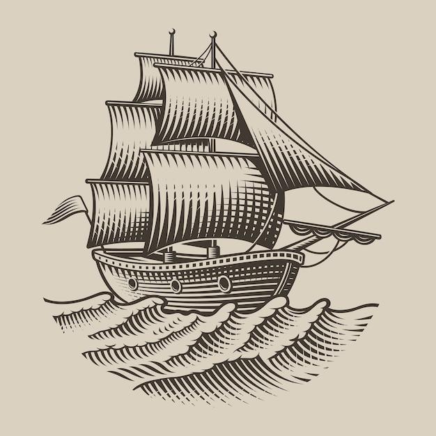 Illustrazione di una nave d'epoca in stile incisione su sfondo bianco. isolato. Vettore Premium