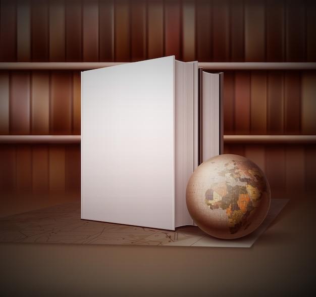 Illustrazione in stile vintage con piccolo globo vicino a due libri in piedi sulla mappa Vettore Premium