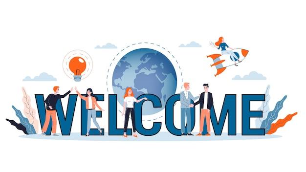 Illustrazione del concetto di accoglienza. saluto per il nuovo membro del team aziendale. banner web, presentazione, idea di account di social media. illustrazione Vettore Premium