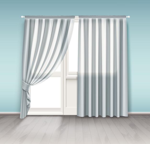 Illustrazione di tende bianche appendere alla finestra con porta del balcone isolato su sfondo bianco Vettore Premium