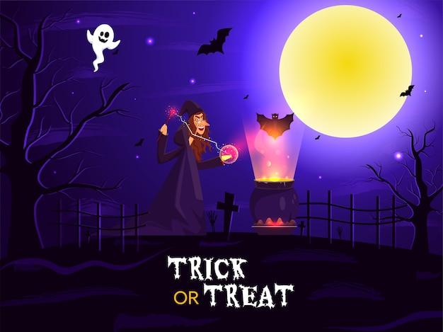 Illustrazione della strega che fa magia dalla bacchetta con calderone bollente, pipistrelli e fantasma su sfondo di cimitero di luna piena per dolcetto o scherzetto. Vettore Premium