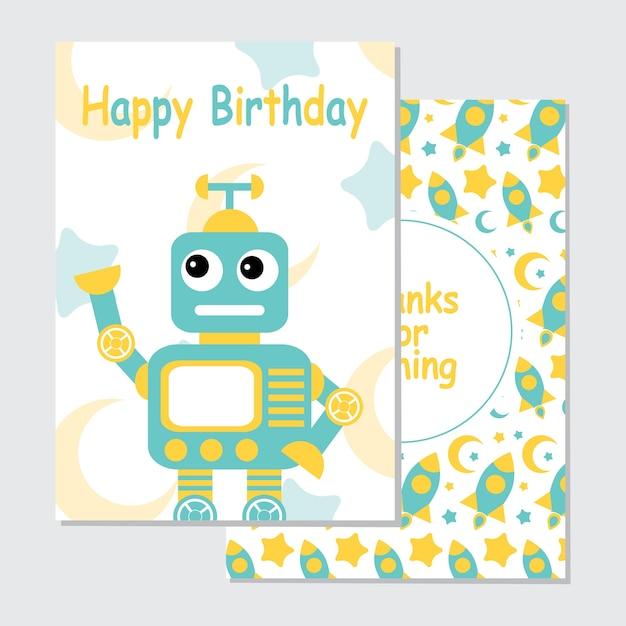 Illustrazione con robot blu carino su sfondo razzo adatto per la progettazione di biglietti d'invito compleanno Vettore Premium