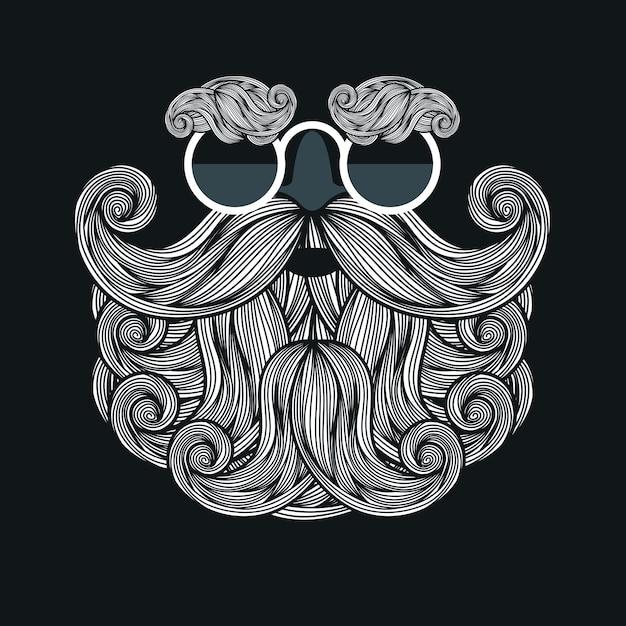 Illustrazione con occhiali, barba e baffi di babbo natale Vettore Premium