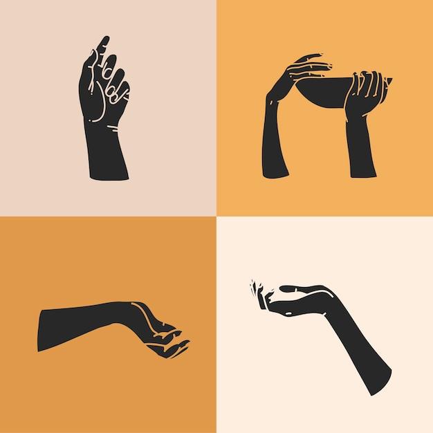 Illustrazione con set di elementi del logo, sagome di mani umane, magia Vettore Premium
