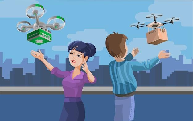 Illustrazione con uomo e donna che riceve il pacchetto consegnato da quadricoptero. concetto di servizio di consegna droni, tecnologia innovativa nelle spedizioni e logistica. illustrazione creativa del fumetto Vettore Premium