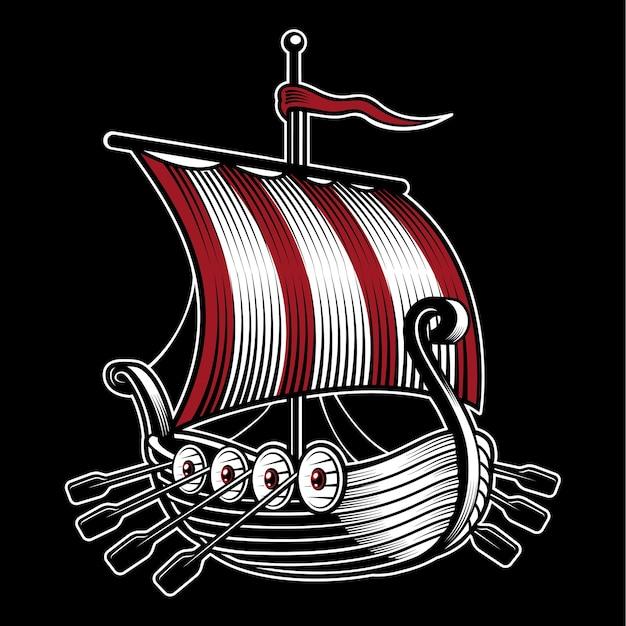 Illustrazione con la nave del vichingo. su sfondo scuro. Vettore Premium