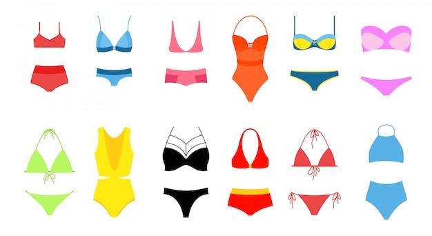 Illustrazione del set bikini da donna, collezione di costume da bagno colori vivaci dentro su sfondo bianco. bikini vintage moderno e alla moda. Vettore Premium