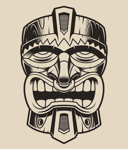 Illustrazione di una maschera tiki in legno nello stile della polanesia. Vettore Premium