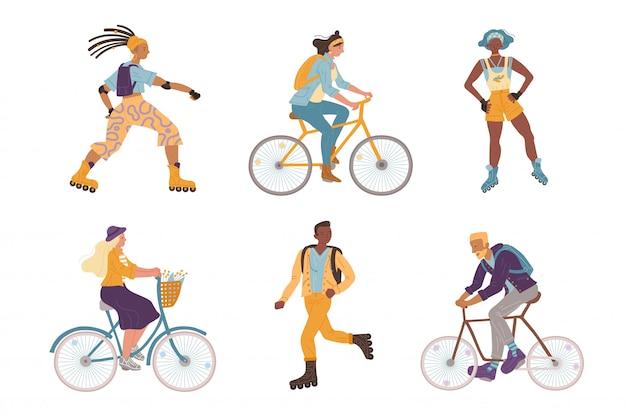 Illustrazione giovani ciclisti, pattinatori a rotelle Vettore Premium