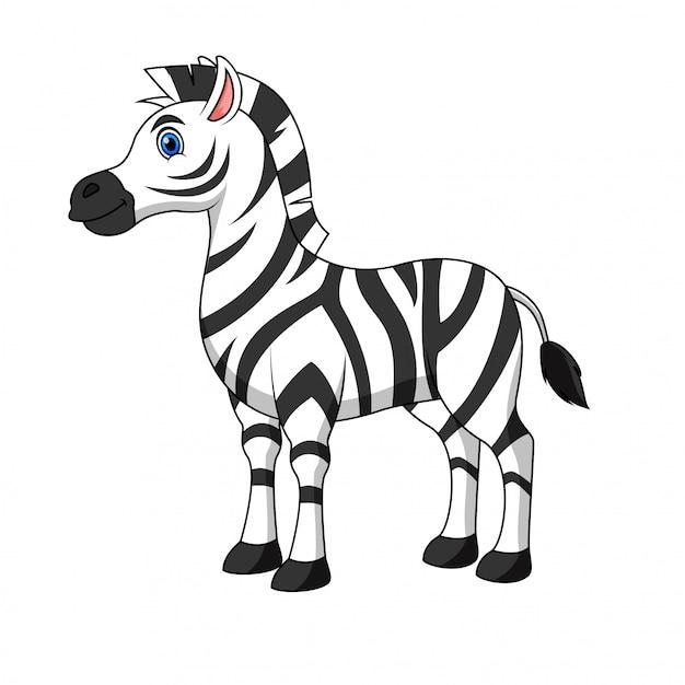 Illustrazione di un cartone animato zebra Vettore Premium
