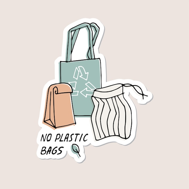 Illustrazione zero rifiuti riciclare senza sacchetti di plastica protezione dell'ambiente citazione adesivi perni Vettore Premium