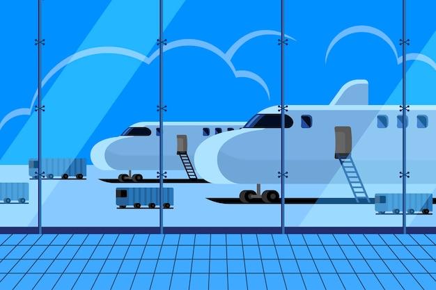 Concetto di illustrazioni l'aeroporto nel terminal in attesa di atterraggio aereo Vettore Premium