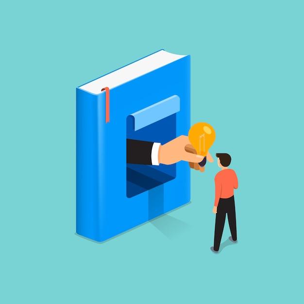 Il concept book delle illustrazioni è conoscenza e grande idea per le persone. illustrare. Vettore Premium