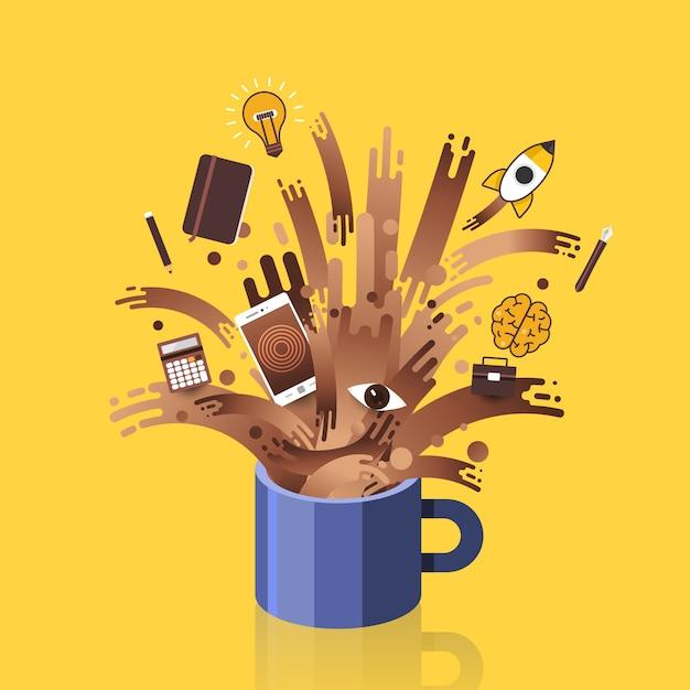 Illustrazioni concetto tazza di caffè splash oggetti sveglia per il lavoro. . Vettore Premium