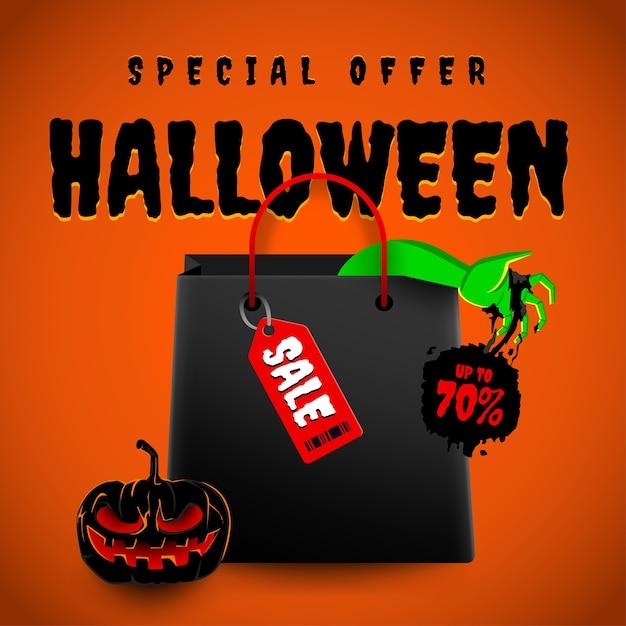 Illustrazioni concetto vendita di halloween Vettore Premium