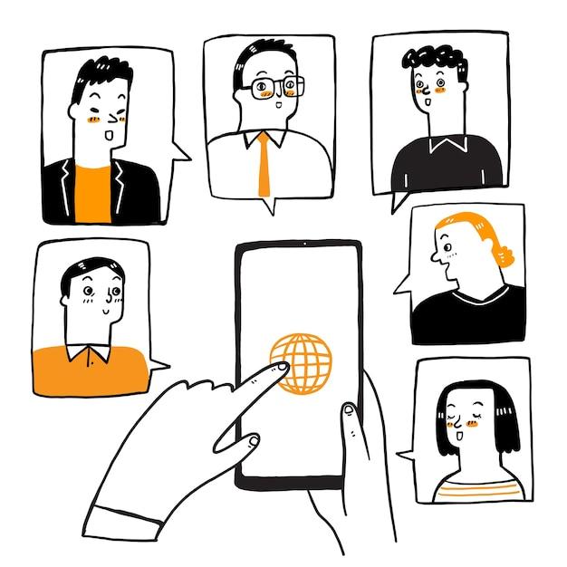 Le illustrazioni scarabocchiano la videoconferenza di concetto. Vettore Premium