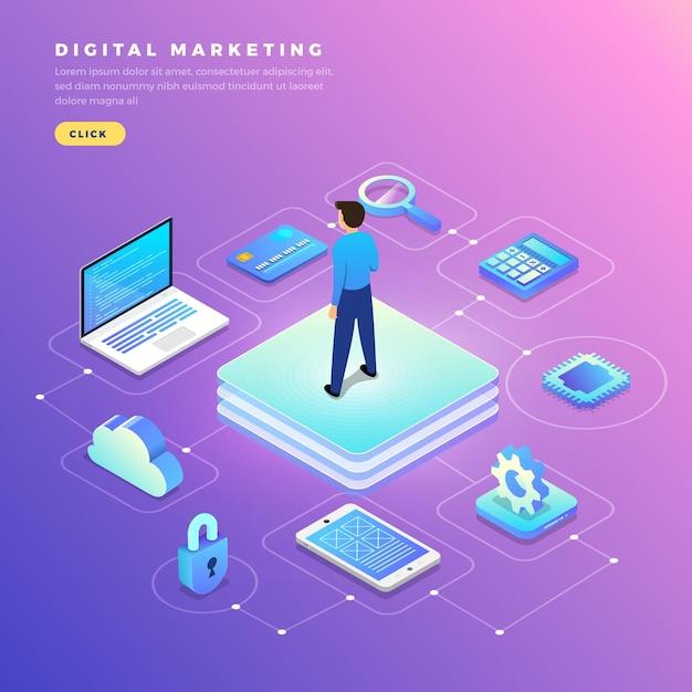 Illustrazioni design piatto concetto di marketing digitale Vettore Premium