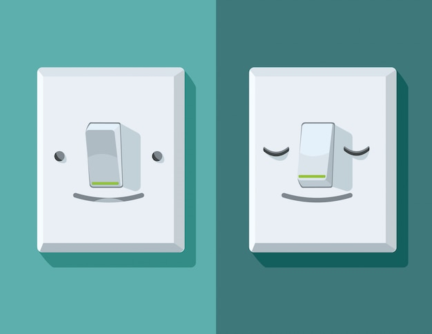 Illustrazioni di un interruttore on / off con la faccia Vettore Premium