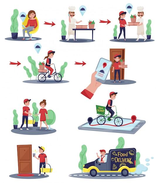 Illustrazioni che mostrano l'ordine del cliente e il processo di consegna. addetti alle consegne facendo il loro lavoro. servizio di ristorazione Vettore Premium