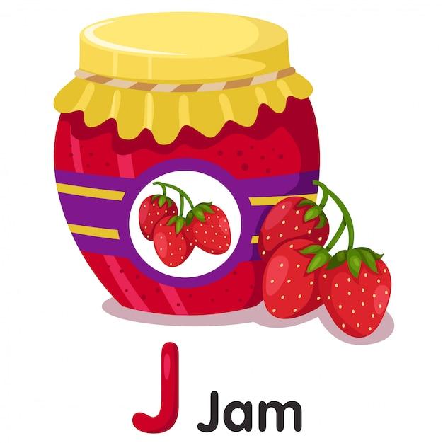 Illustratore di marmellata di fragole Vettore Premium
