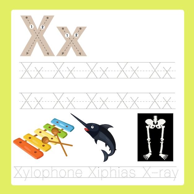 Illustratore di x esercita il vocabolario del fumetto az Vettore Premium